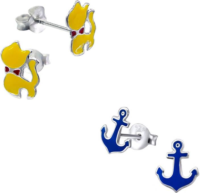 Yellow Chimes Kitty And Anchor Sterling Silver Earring Set