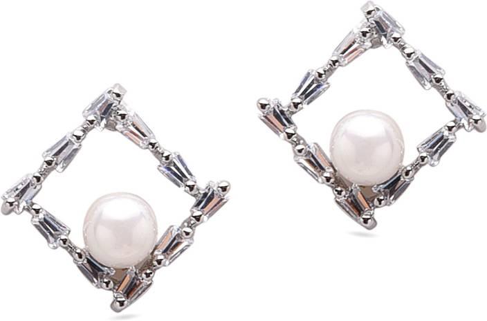 Diana Korr DKJ-E39 Crystal, Pearl Alloy Stud Earring