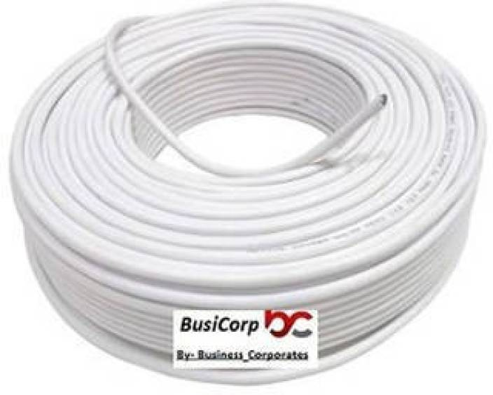 busicorp cctv wire cable 3+1 full copper- 90 meter (100 yards) white 90 m  wire (white)