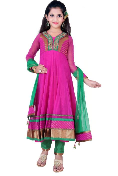 For Kids Girls Kurta and Churidar Set