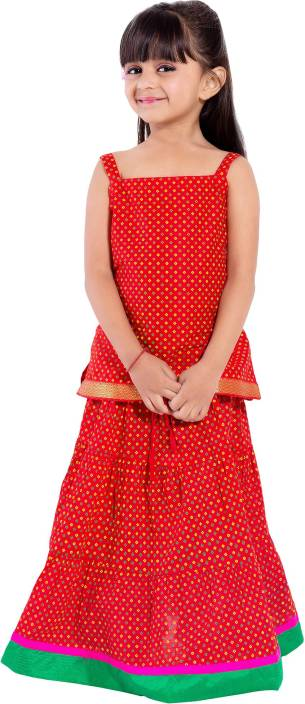 Magnus Girls Lehenga Choli Ethnic Wear Polka Print Lehenga Choli  (Red, Pack of 1)