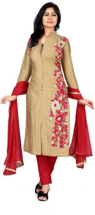 Vaidehi Fashion Cotton Embroidered Semi-stitched Salwar Suit Dupatta Material