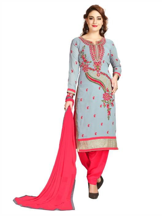 Elevate Women Georgette Embroidered Semi-stitched Salwar Suit Dupatta Material, Semi-stitched Salwar Suit Material, Salwar Suit Material, Salwar Suit Dupatta Material, Dress/Top Material