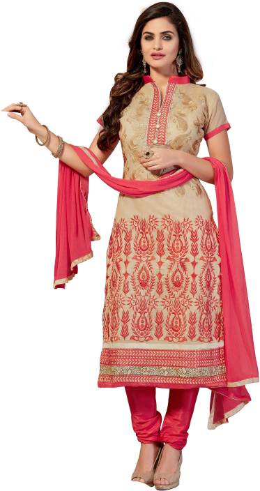 Manvaa Cotton Embroidered Semi-stitched Salwar Suit Dupatta Material