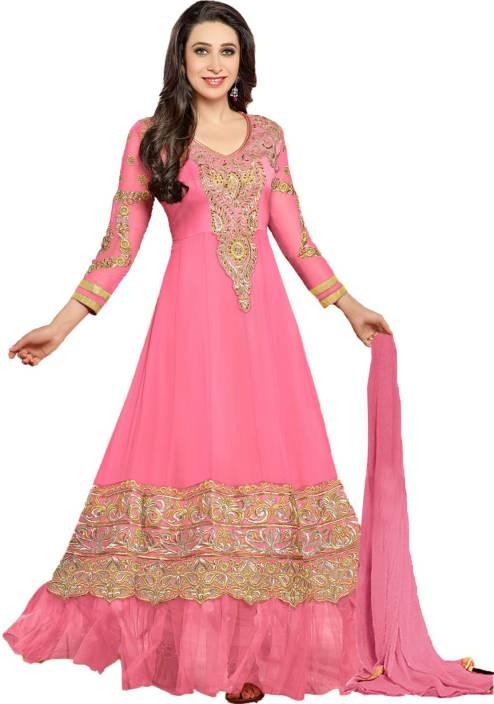 Helix Enterprise Georgette Self Design Semi-stitched Salwar Suit Dupatta Material
