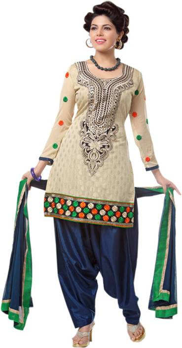 Zombom Fashion Chanderi Embroidered Semi-stitched Salwar Suit Dupatta Material