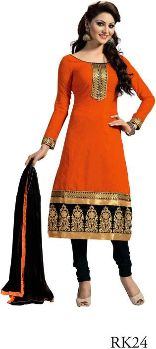 Shree Creation Cotton Embroidered Semi-stitched Salwar Suit Dupatta Material