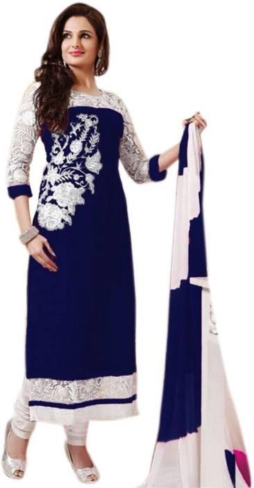 DIWANFASHION Georgette Embroidered Semi-stitched Salwar Suit Dupatta Material