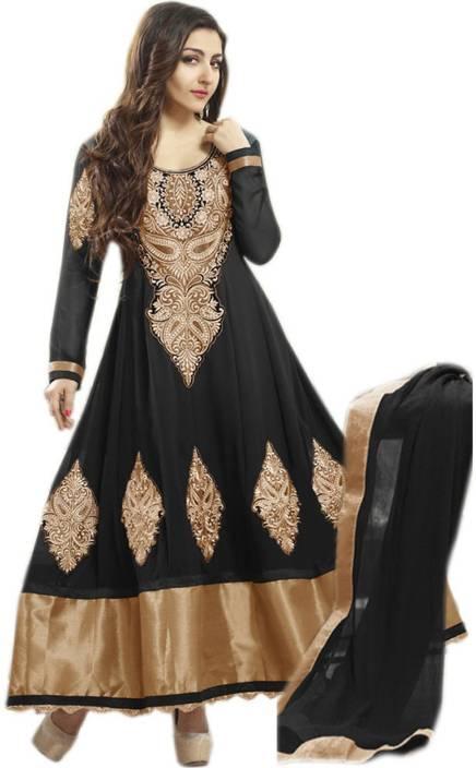 Suitevilla Georgette Embroidered Semi-stitched Salwar Suit Dupatta Material