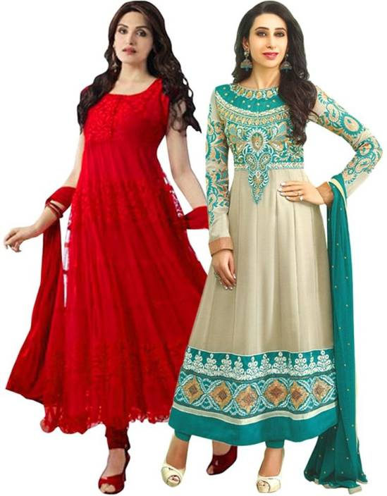 N.M. Textile Georgette Embroidered Semi-stitched Salwar Suit Dupatta Material