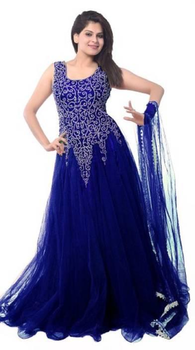 Nebula Trendz Net Embroidered Semi-stitched Gown