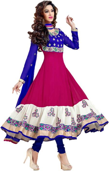 MF Retail Synthetic Georgette Embroidered Semi-stitched Salwar Suit Dupatta Material