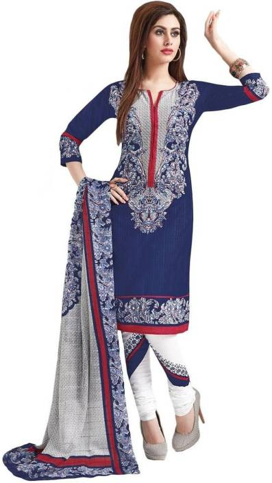Salwar Studio Cotton Printed Semi-stitched Salwar Suit Dupatta Material