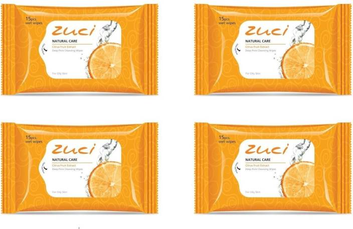Zuci Natural Care Citrus Fruit Extract Deep Pore Cleansing Wet Wipes (15 Pieces) - Pack of 4