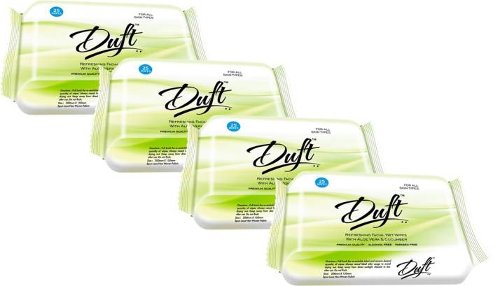 Duft REFRESHING WET WIPES WITH ALOE VERA & CUCUMBER PACK OF 4 (25 WIPES EACH)