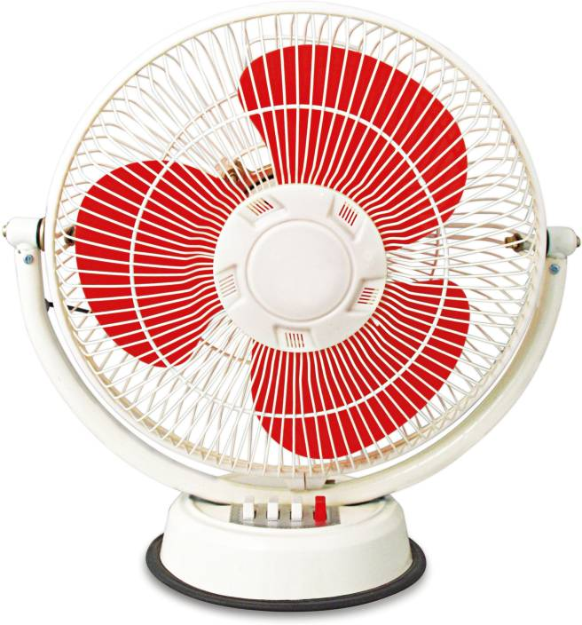 Suntreck Regular Fan 12 Inch 3 Blade Table White Red