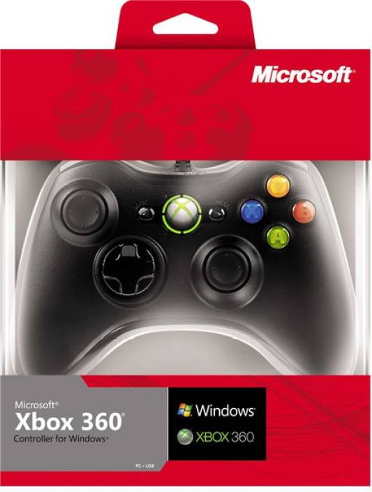 Microsoft Xbox 360 Wireless Controller for Windows Gamepad (Black, For Xbox 360)