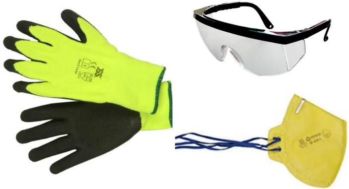 TrustBasket Garden Safety Kit (Garden Gloves,Safety Glass,Dust Mask) Garden  Tool Kit