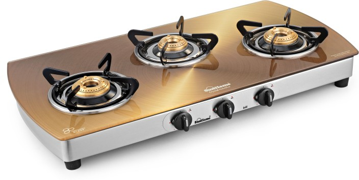 sunflame crystal gold glass stainless steel manual gas stove