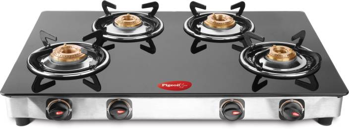 58f737496 Pigeon Blackline Oval Glass Manual Gas Stove Price in India - Buy ...