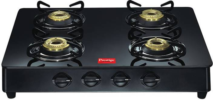 Prestige 4 Burner Glass Cooktop Cast Iron Manual Gas Stove