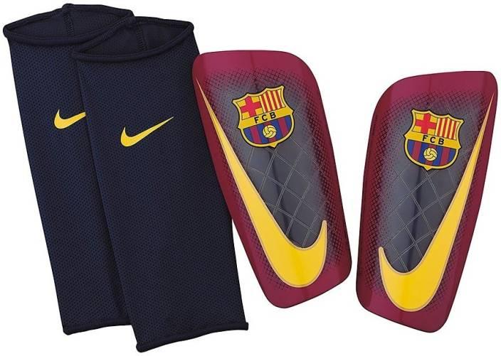 huge discount cd2d9 1159f Nike FC Barcelona Mercurial Lite Football Shin Guard (L, Yellow, Blue,  Black)
