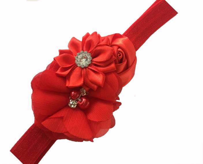 cf337e58fbd2 Bellazaara BELLAZAARA Couture Baby Girl Red Satin Ribbon Flower Headband  Head Band (Red)