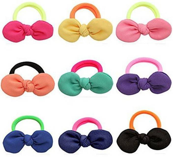 JM INNOVATION Cute Hair Ties J-MEE 3D Bows No Damage Hair Accessories Rubber  Bands Hair Ribbons for Girls (9 Pairs) Rubber Band (Multicolor) 3a99149963f