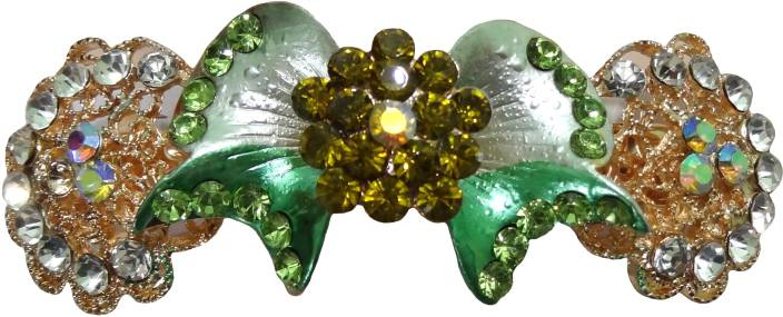 Shreya Collection Fashion Green Colour Stone Studded Hair Clip Back Pin