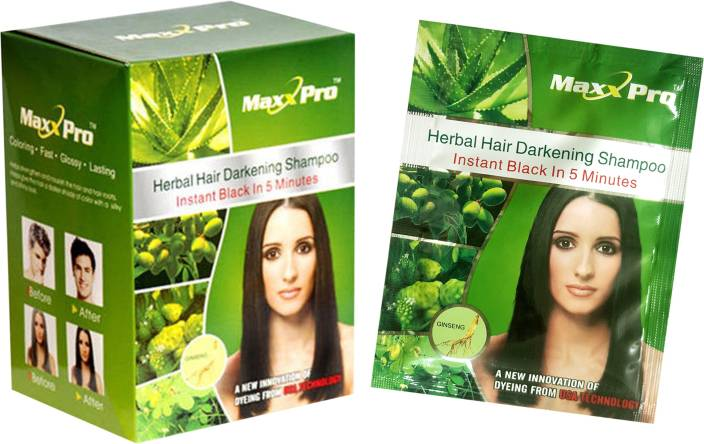 MaxxPro Organic Dye Shampoo Pack of 10 Hair Color