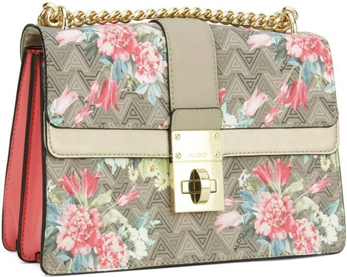 Buy ALDO Sling Bag Taupe Jacquard w/ Floral Print w/ Lt Gold hw ...