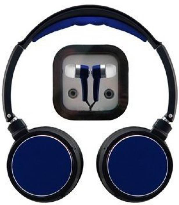 Sentry Rockers Folding Dj Headphones & Earbuds Combo Blue Headphone