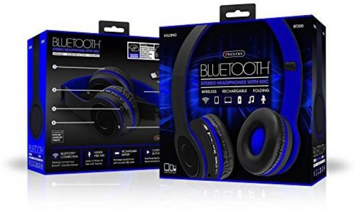 Sentry Bluetooth, Stereo, Rechargeable, Folding Headband Headphones W/ Mic Bt200 In Blue Headphone