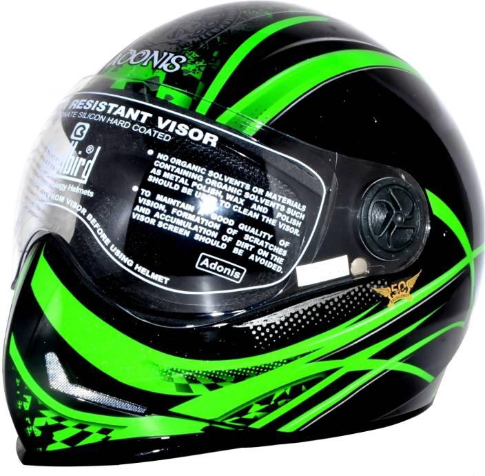 53f7a063 Steelbird Adonis Graphics Dot Full Face Clear Visor L600 Motorbike Helmet ( Black, Green)