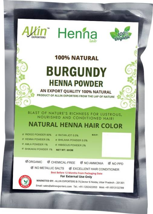 7ed99e3e9 Allin Exporters Natural Burgundy Henna Hair Color - Price in India ...