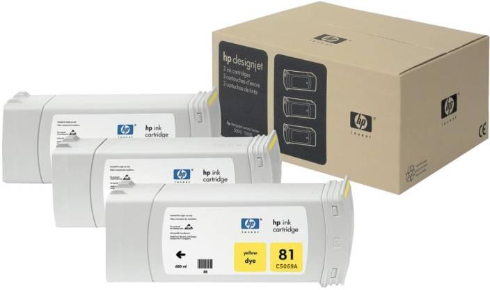 HP 81 3-pack 680-ml Yellow Dye Cartridges
