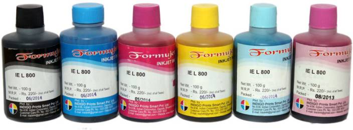 Formujet Refill Ink T6731, T6732, T6733, T6734, T6735 & T6736 For Use In Epson L800 / L805 / L810 / L850 / L1800 Printers - 100 ML Each Bottle - 6 Colors Combo Single Color Ink