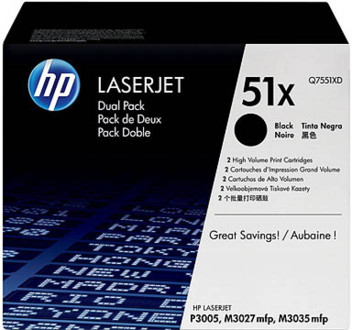 HP 51X Black Dual Pack LaserJet Toner Cartridge