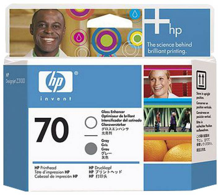 HP 70 Gloss Enhancer and Grey Printhead Ink Cartridge