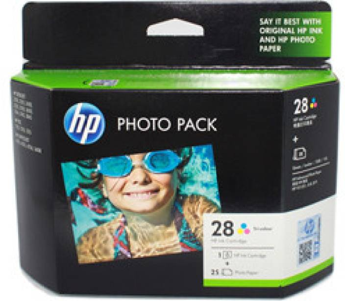 HP 28 Tri-color Ink Cartridge (value pack with HP photo paper-25 sheets)