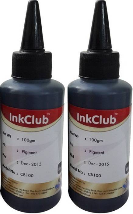 Inkclub Compatible Canon Black Pigmented Ink for cartridge PG88, PG745, PG810, PG830, PG89, PG47, PG740, PGI 5,PG 40 - Set Of 2 100 Ml Bottle Single Color Ink