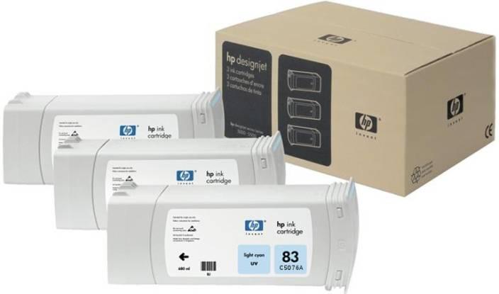 HP 83 3-pack 680-ml Light Cyan UV Cartridges