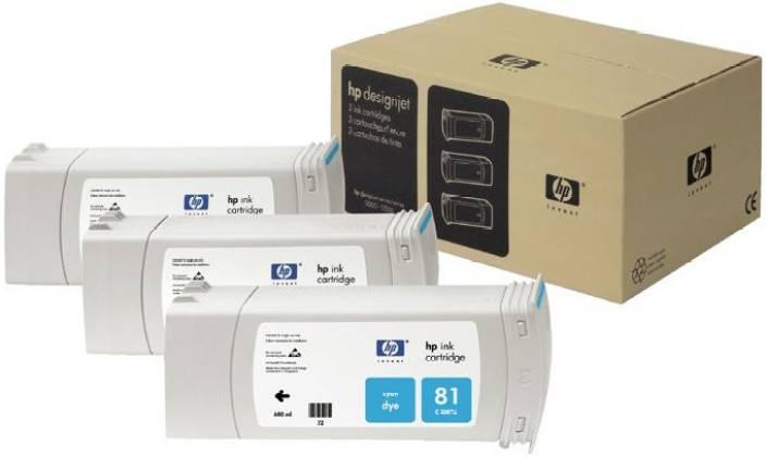 HP 81 3-pack 680-ml Cyan Dye Cartridges