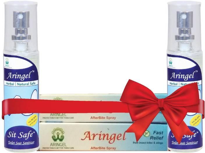 Aringel After Bite Spray 2 pcs & Sit safe Toilet Seat Sanitizer 2pcs