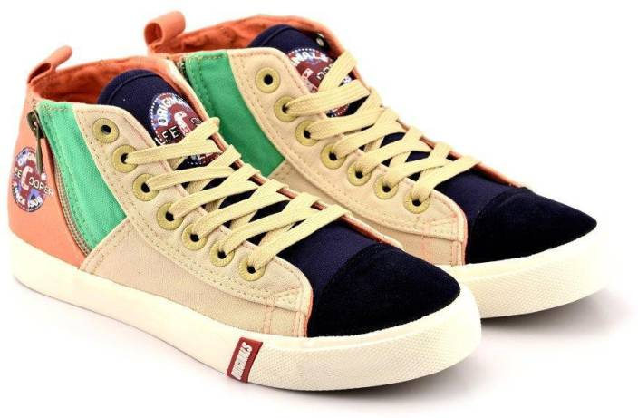 Lee Cooper Canvas High Ankle Sneakers For Women