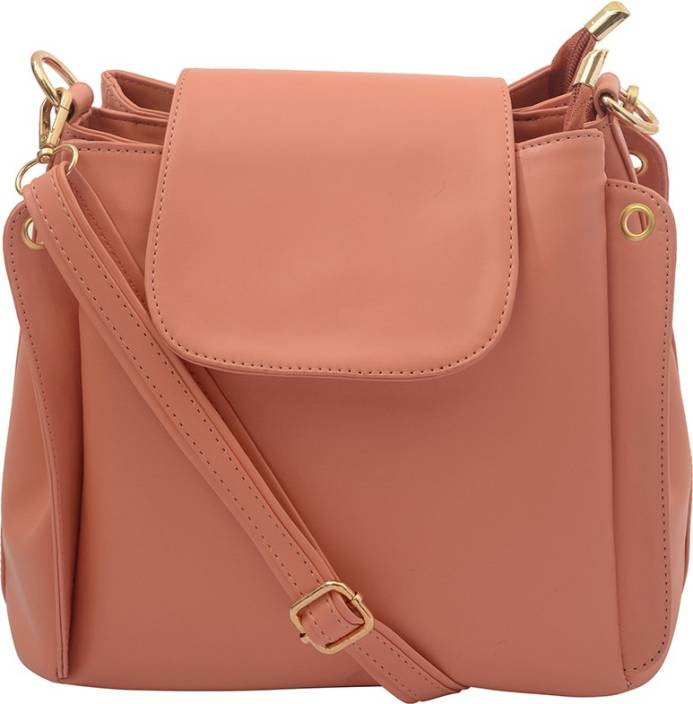 Deniza Women Pink Leatherette Sling Bag PEACH - Price in India ...