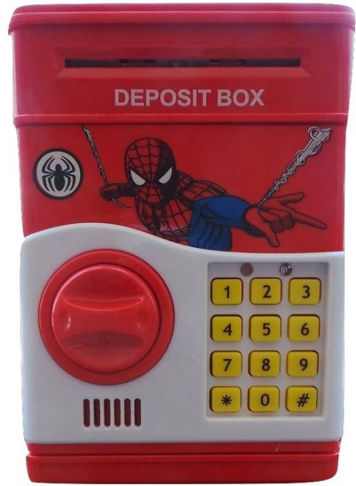 Bubble Hut Spiderman Electronic Piggy Bank Money Locker Atm Coin