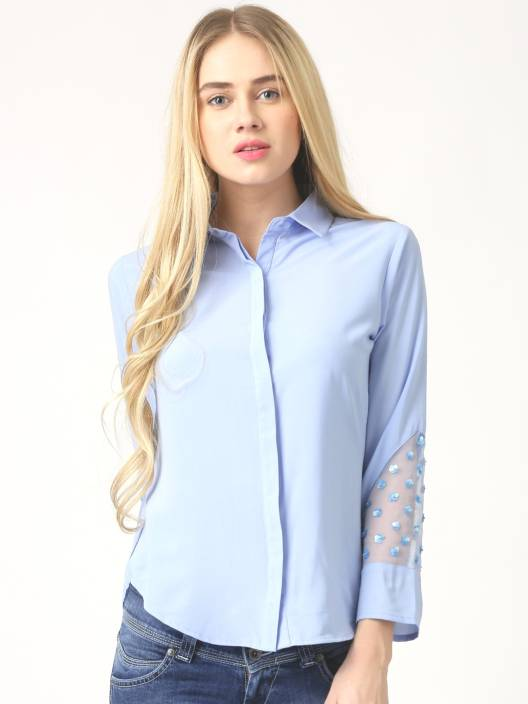 Marie Claire Women's Solid Casual Cut Away Shirt