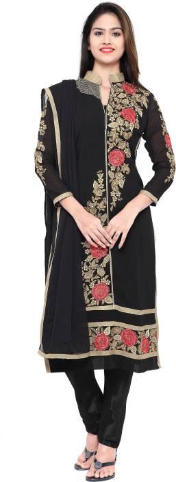 Kvsfab Georgette Embroidered Semi-stitched Salwar Suit Dupatta Material