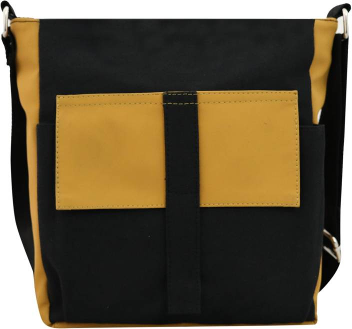 balachia Men & Women Black Canvas, PU Sling Bag Black - Price in ...